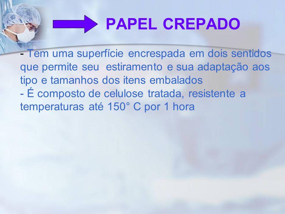 PAPEL CREPADO - Tem uma superfície encrespada em dois sentidos que permite seu estiramento e sua adaptação aos tipo e tamanhos dos itens embalados - É