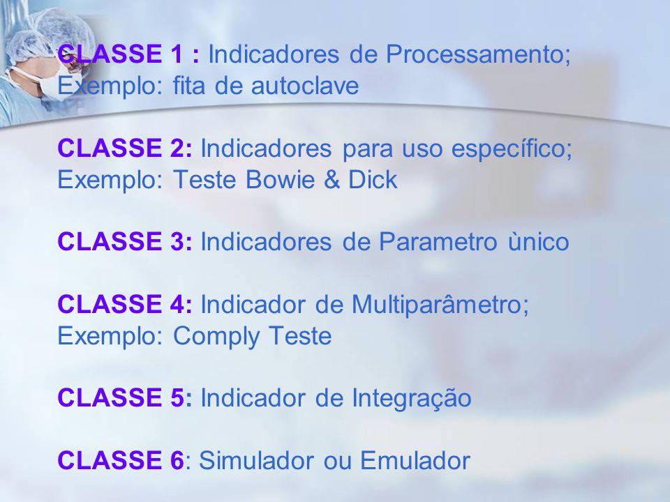 CLASSE 1 : Indicadores de Processamento; Exemplo: fita de autoclave CLASSE 2: Indicadores para uso específico; Exemplo: Teste Bowie & Dick CLASSE 3: I