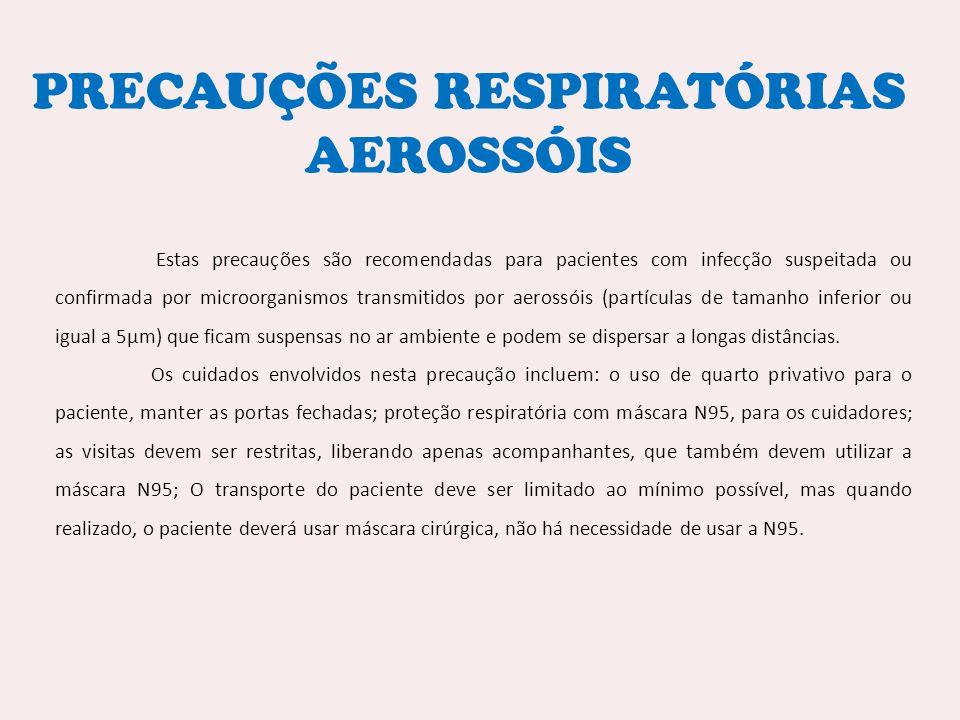 PRECAUÇÕES RESPIRATÓRIAS AEROSSÓIS Estas precauções são recomendadas para pacientes com infecção suspeitada ou confirmada por microorganismos transmit