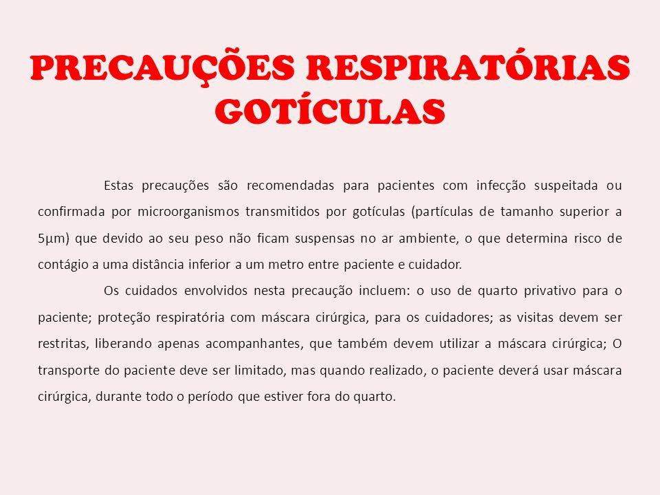 PRECAUÇÕES RESPIRATÓRIAS GOTÍCULAS Estas precauções são recomendadas para pacientes com infecção suspeitada ou confirmada por microorganismos transmit