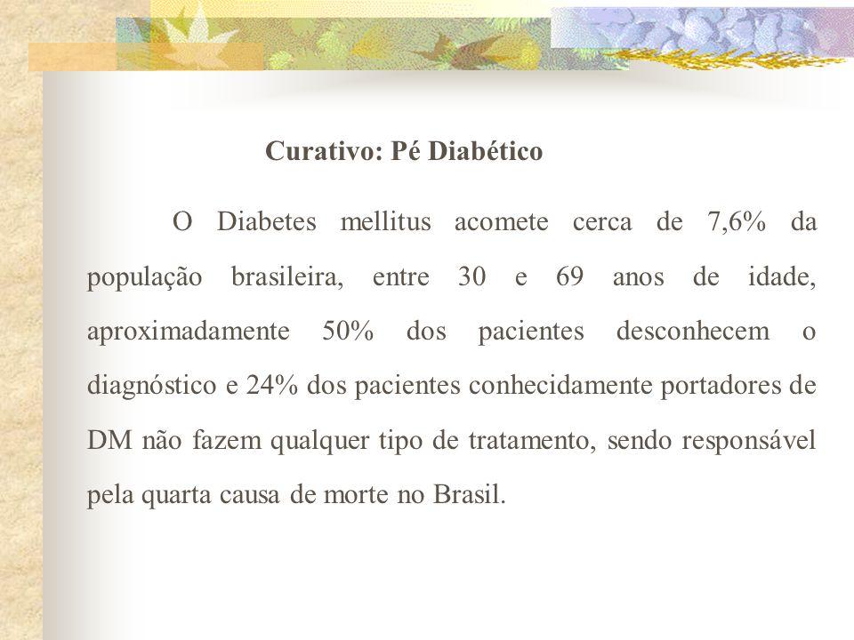 Curativo: Pé Diabético O Diabetes mellitus acomete cerca de 7,6% da população brasileira, entre 30 e 69 anos de idade, aproximadamente 50% dos pacient