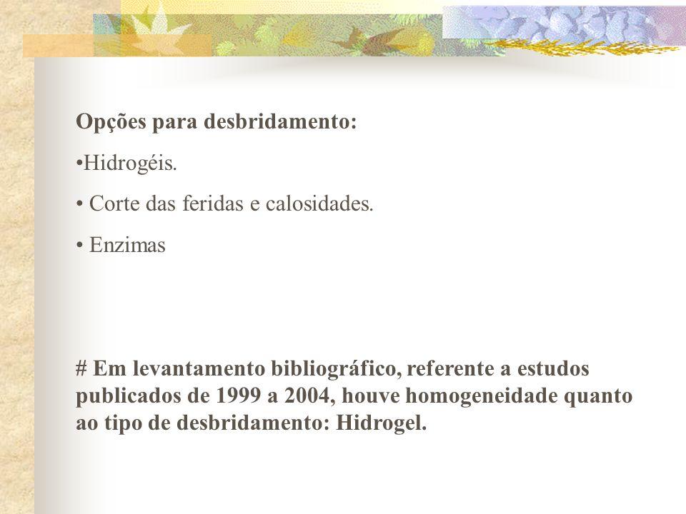 Opções para desbridamento: Hidrogéis. Corte das feridas e calosidades. Enzimas # Em levantamento bibliográfico, referente a estudos publicados de 1999