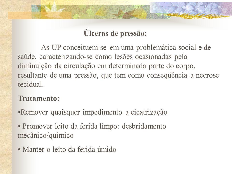 Úlceras de pressão: As UP conceituem-se em uma problemática social e de saúde, caracterizando-se como lesões ocasionadas pela diminuição da circulação
