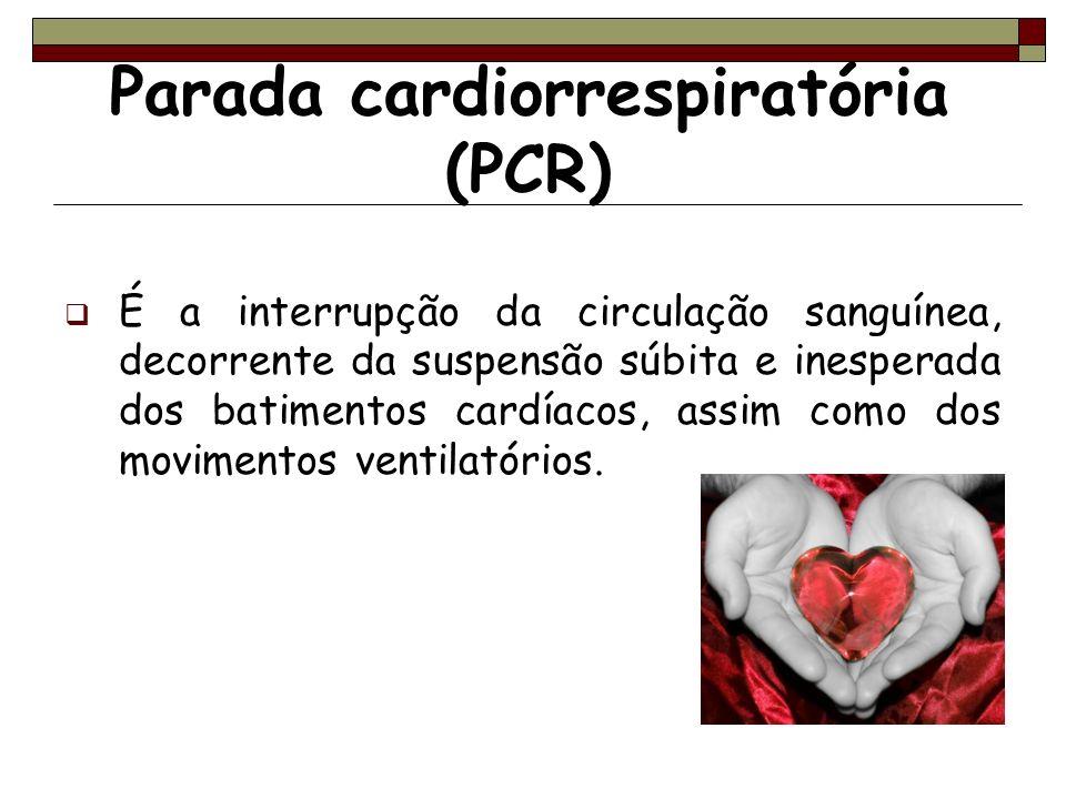 Parada cardiorrespiratória (PCR) É a interrupção da circulação sanguínea, decorrente da suspensão súbita e inesperada dos batimentos cardíacos, assim