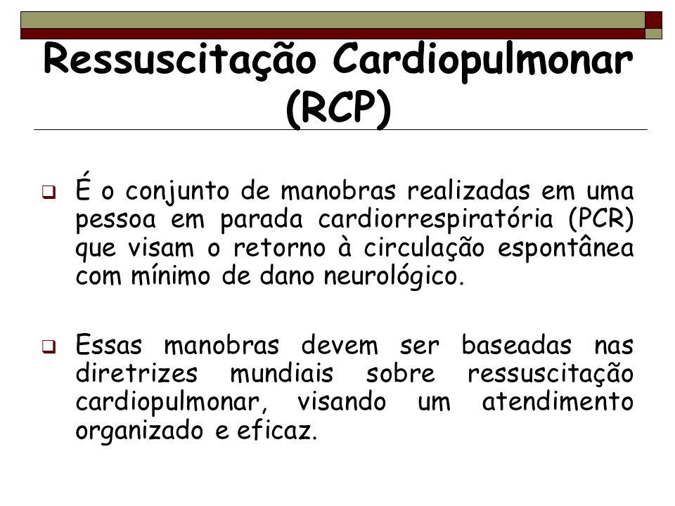 Ressuscitação Cardiopulmonar (RCP) É o conjunto de manobras realizadas em uma pessoa em parada cardiorrespiratória (PCR) que visam o retorno à circula