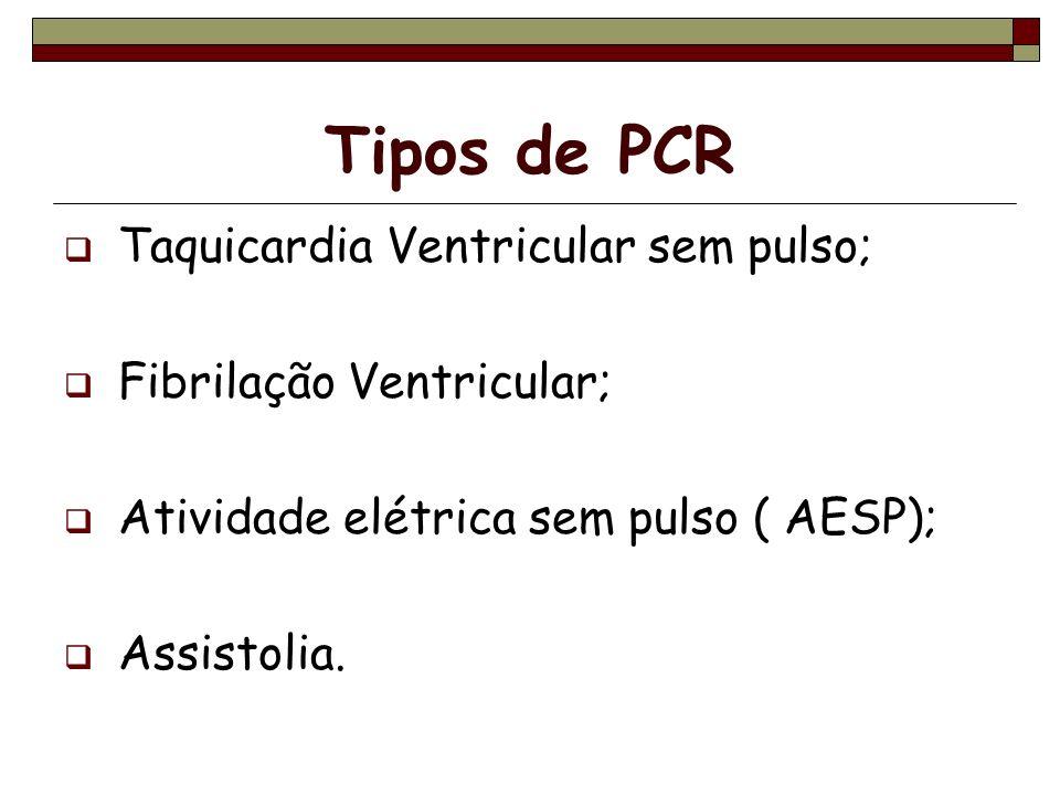 Tipos de PCR Taquicardia Ventricular sem pulso; Fibrilação Ventricular; Atividade elétrica sem pulso ( AESP); Assistolia.