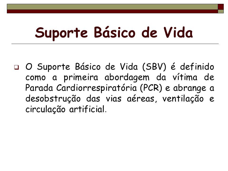Suporte Básico de Vida O Suporte Básico de Vida (SBV) é definido como a primeira abordagem da vítima de Parada Cardiorrespiratória (PCR) e abrange a d