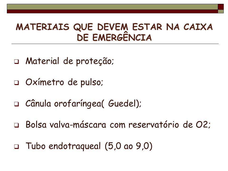 Material de proteção; Oxímetro de pulso; Cânula orofaríngea( Guedel); Bolsa valva-máscara com reservatório de O2; Tubo endotraqueal (5,0 ao 9,0)
