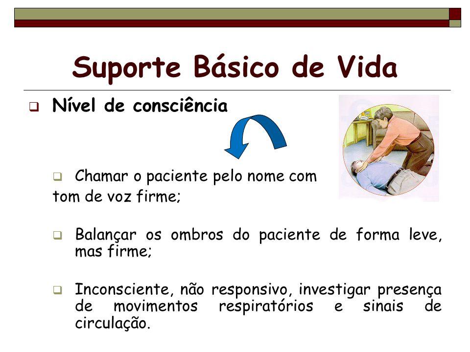 Suporte Básico de Vida Nível de consciência Chamar o paciente pelo nome com tom de voz firme; Balançar os ombros do paciente de forma leve, mas firme;