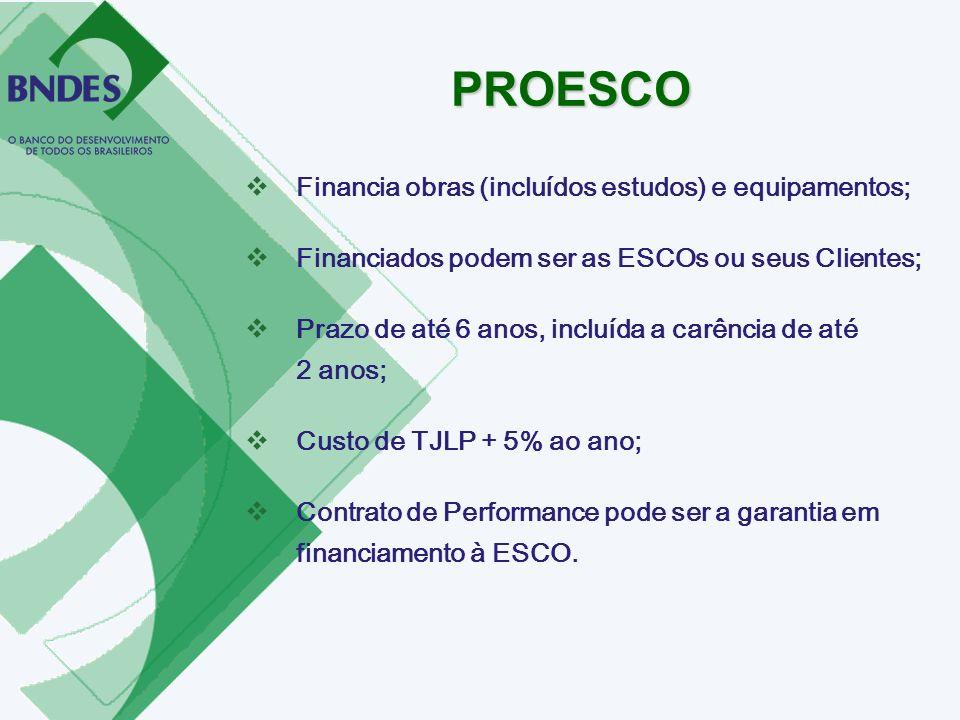 Financia obras (incluídos estudos) e equipamentos; Financiados podem ser as ESCOs ou seus Clientes; Prazo de até 6 anos, incluída a carência de até 2