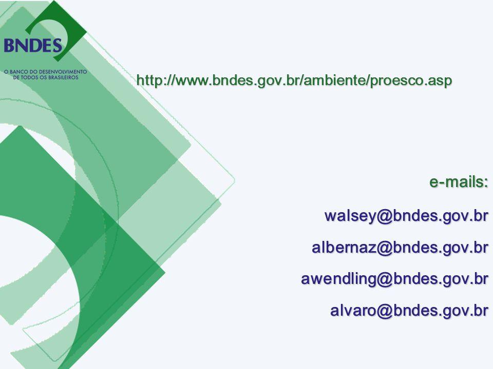 http://www.bndes.gov.br/ambiente/proesco.asp e-mails: walsey@bndes.gov.br albernaz@bndes.gov.br awendling@bndes.gov.br alvaro@bndes.gov.br