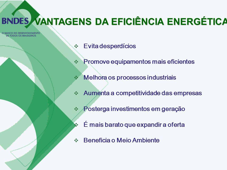 Evita desperdícios Promove equipamentos mais eficientes Melhora os processos industriais Aumenta a competitividade das empresas Posterga investimentos