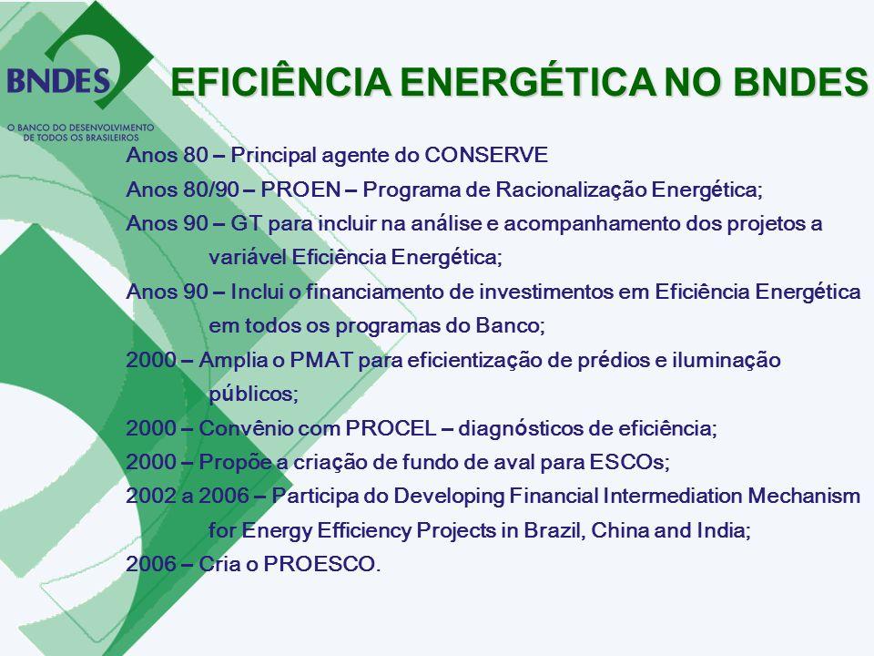 Anos 80 – Principal agente do CONSERVE Anos 80/90 – PROEN – Programa de Racionaliza ç ão Energ é tica; Anos 90 – GT para incluir na an á lise e acompa