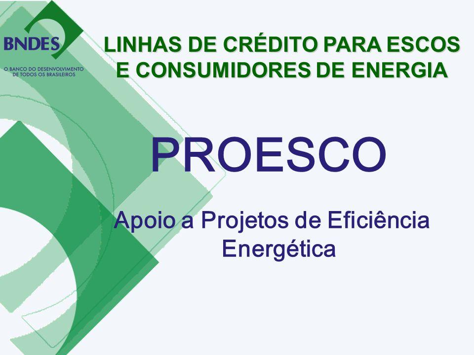 PROESCO Apoio a Projetos de Eficiência Energética LINHAS DE CRÉDITO PARA ESCOS E CONSUMIDORES DE ENERGIA