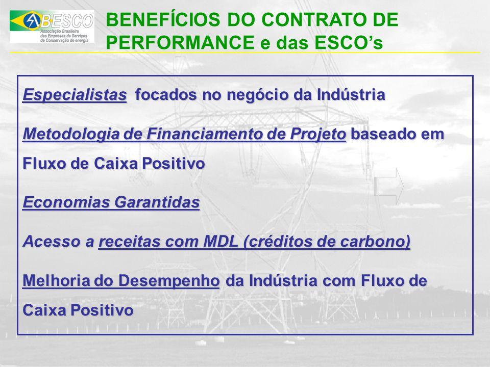 BENEFÍCIOS DO CONTRATO DE PERFORMANCE e das ESCOs Especialistas focados no negócio da Indústria Metodologia de Financiamento de Projeto baseado em Flu