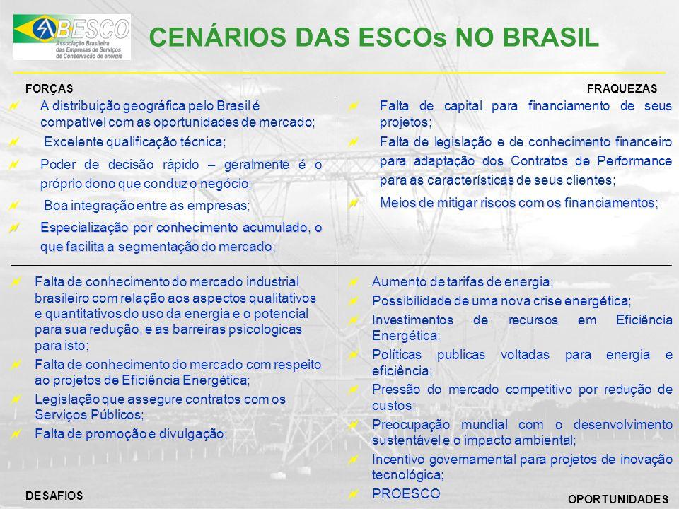 CENÁRIOS DAS ESCOs NO BRASIL A distribuição geográfica pelo Brasil é compatível com as oportunidades de mercado; Excelente qualificação técnica; Poder