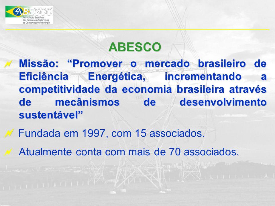 ABESCO Missão: Promover o mercado brasileiro de Eficiência Energética, incrementando a competitividade da economia brasileira através de mecânismos de