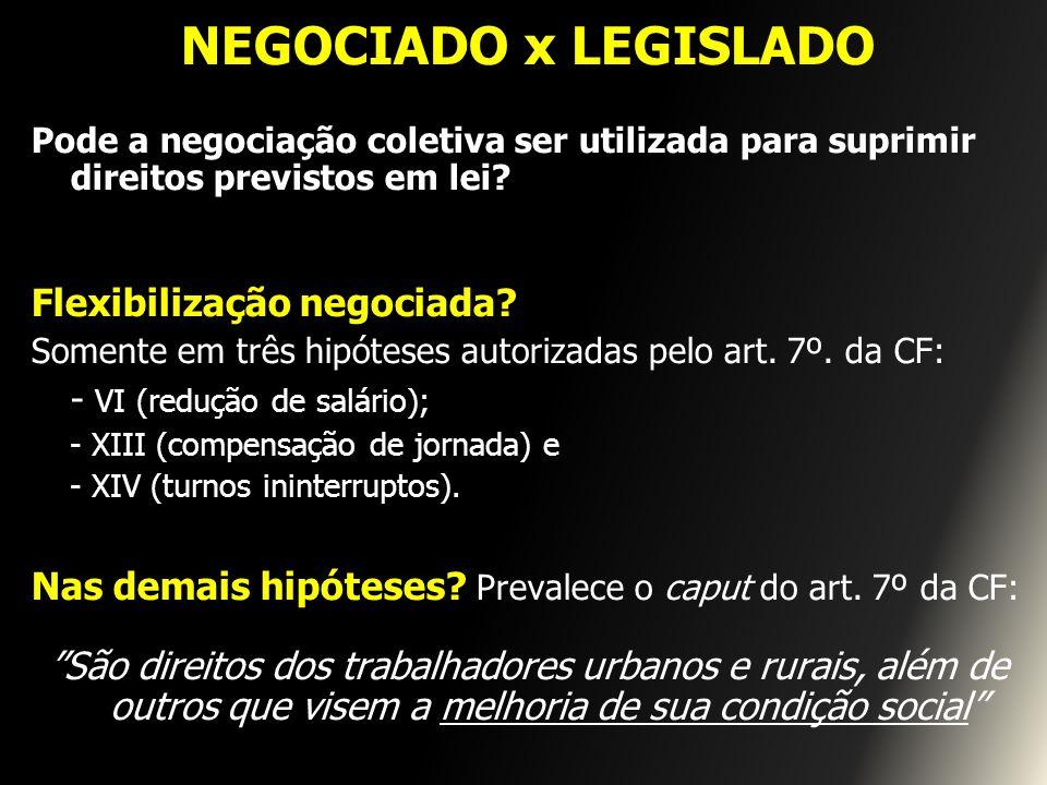 NEGOCIADO x LEGISLADO Pode a negociação coletiva ser utilizada para suprimir direitos previstos em lei? Flexibilização negociada? Somente em três hipó