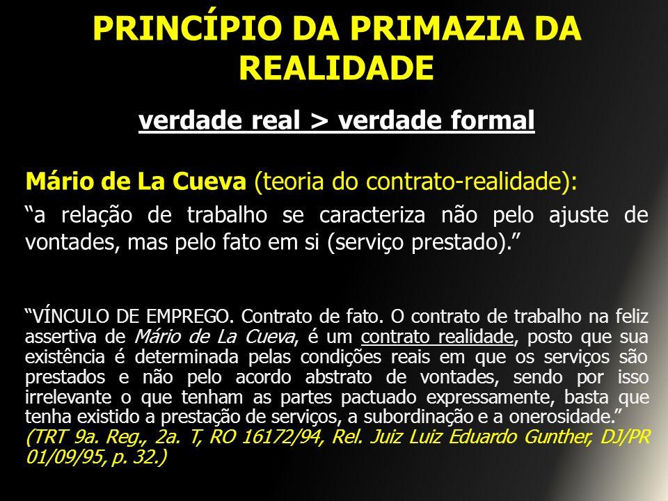 PRINCÍPIO DA PRIMAZIA DA REALIDADE verdade real > verdade formal Mário de La Cueva (teoria do contrato-realidade): a relação de trabalho se caracteriz