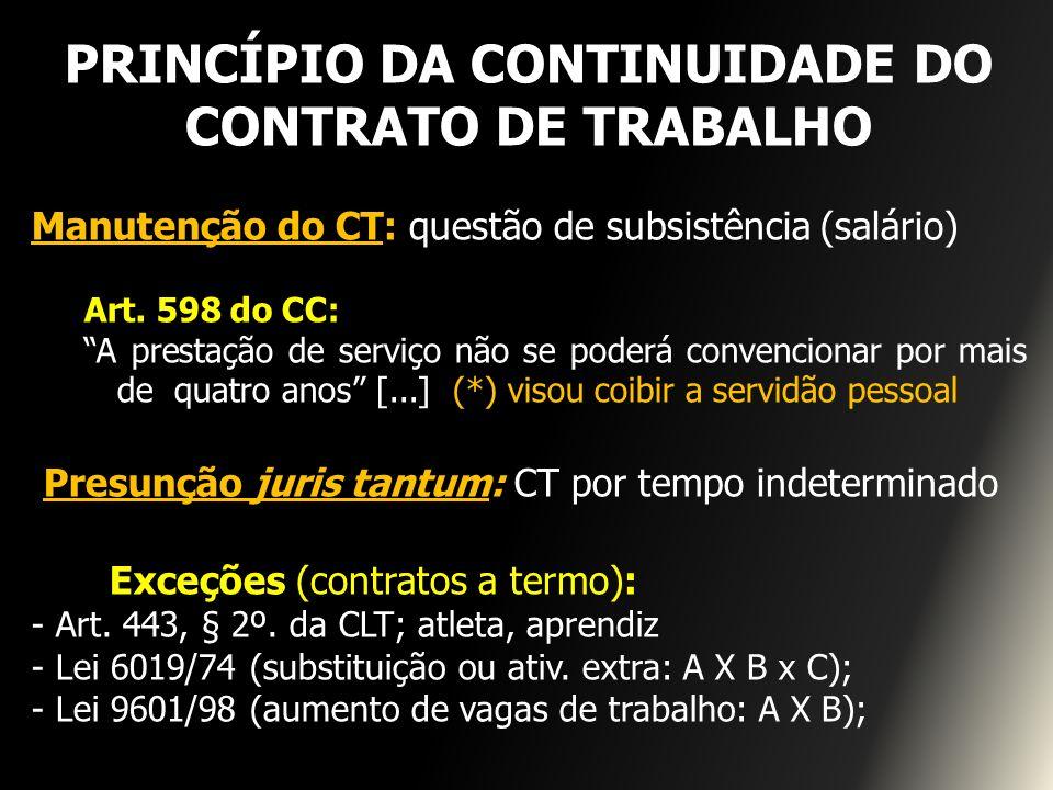 PRINCÍPIO DA CONTINUIDADE DO CONTRATO DE TRABALHO Manutenção do CT: questão de subsistência (salário) Art. 598 do CC: A prestação de serviço não se po