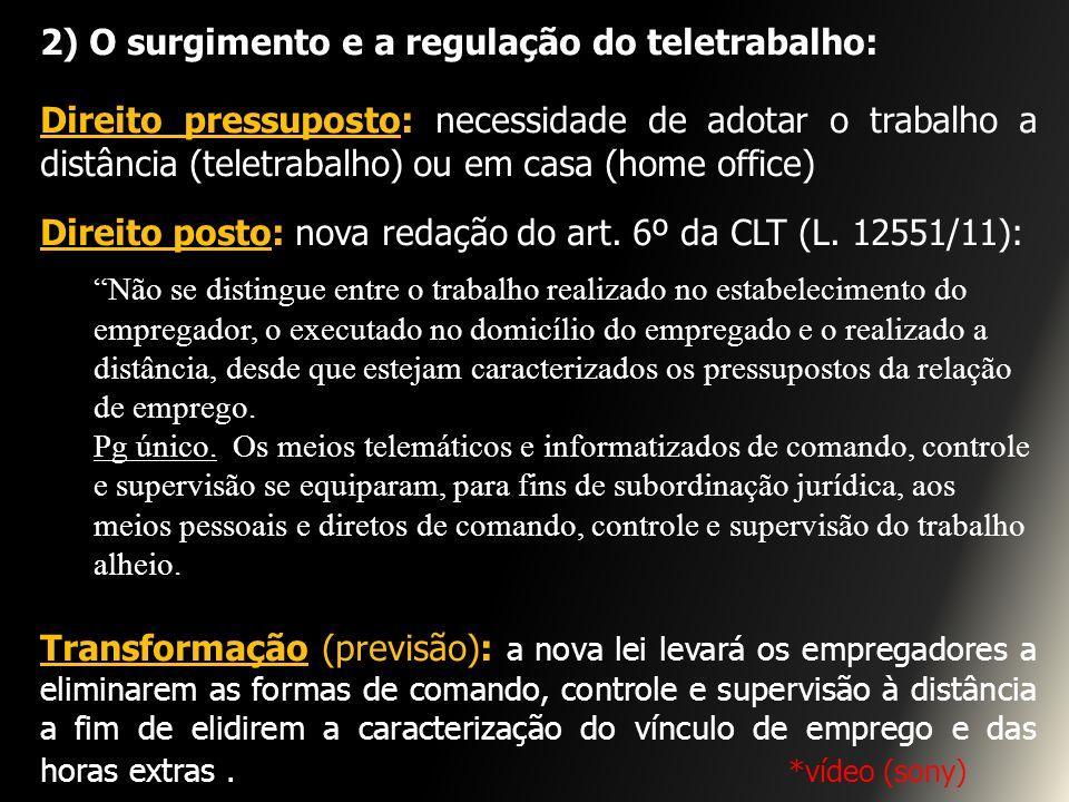2) O surgimento e a regulação do teletrabalho: Direito pressuposto: necessidade de adotar o trabalho a distância (teletrabalho) ou em casa (home offic