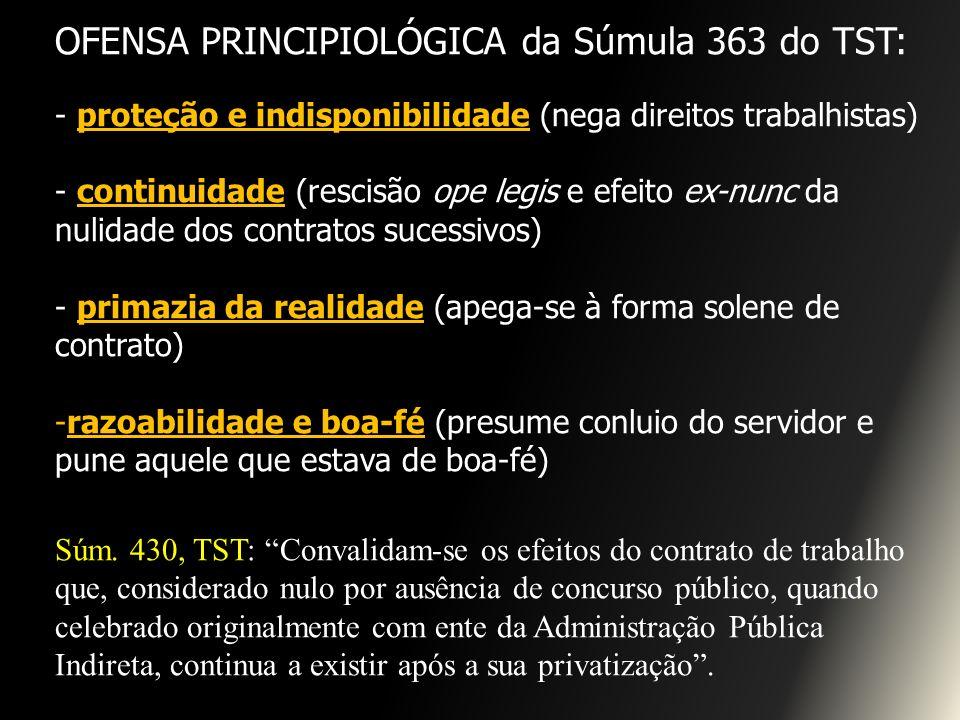 OFENSA PRINCIPIOLÓGICA da Súmula 363 do TST: - proteção e indisponibilidade (nega direitos trabalhistas) - continuidade (rescisão ope legis e efeito e