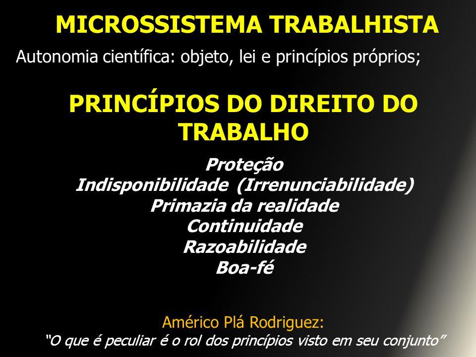 MICROSSISTEMA TRABALHISTA Autonomia científica: objeto, lei e princípios próprios; PRINCÍPIOS DO DIREITO DO TRABALHO Proteção Indisponibilidade (Irren