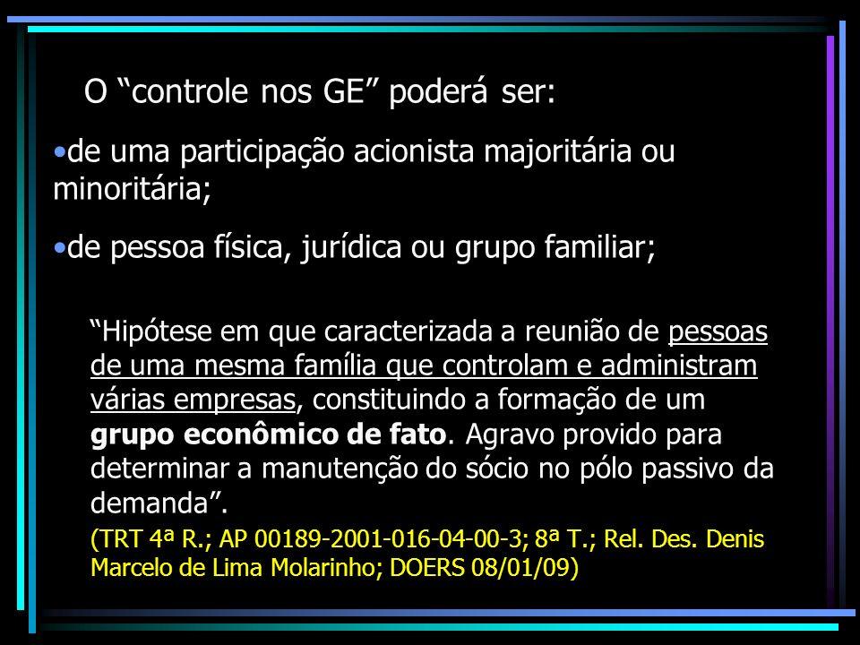 O controle nos GE poderá ser: de uma participação acionista majoritária ou minoritária; de pessoa física, jurídica ou grupo familiar; Hipótese em que