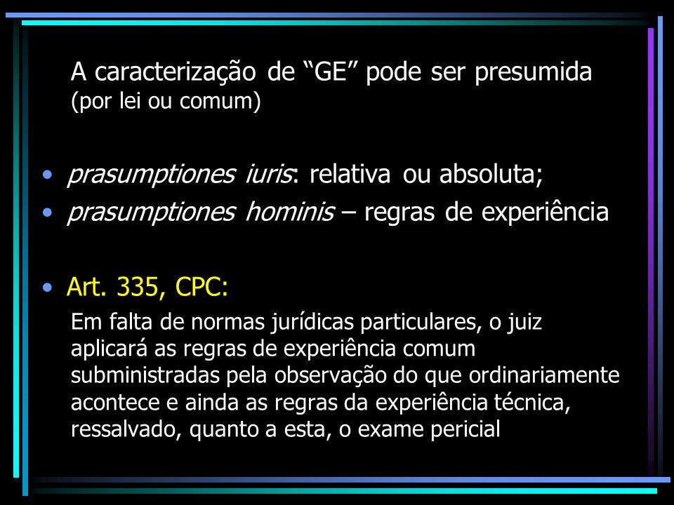 A caracterização de GE pode ser presumida (por lei ou comum) prasumptiones iuris: relativa ou absoluta; prasumptiones hominis – regras de experiência