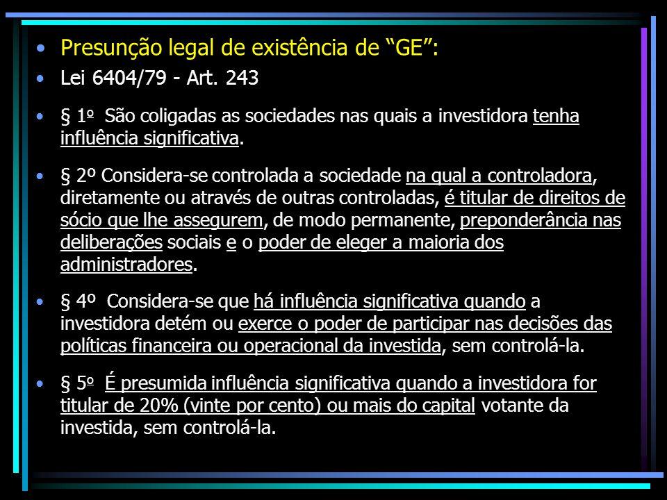 Presunção legal de existência de GE: Lei 6404/79 - Art. 243 § 1 o São coligadas as sociedades nas quais a investidora tenha influência significativa.