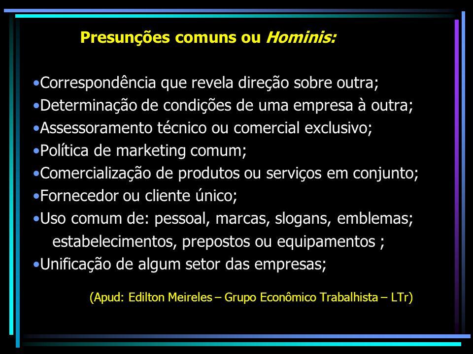 Presunções comuns ou Hominis: Correspondência que revela direção sobre outra; Determinação de condições de uma empresa à outra; Assessoramento técnico
