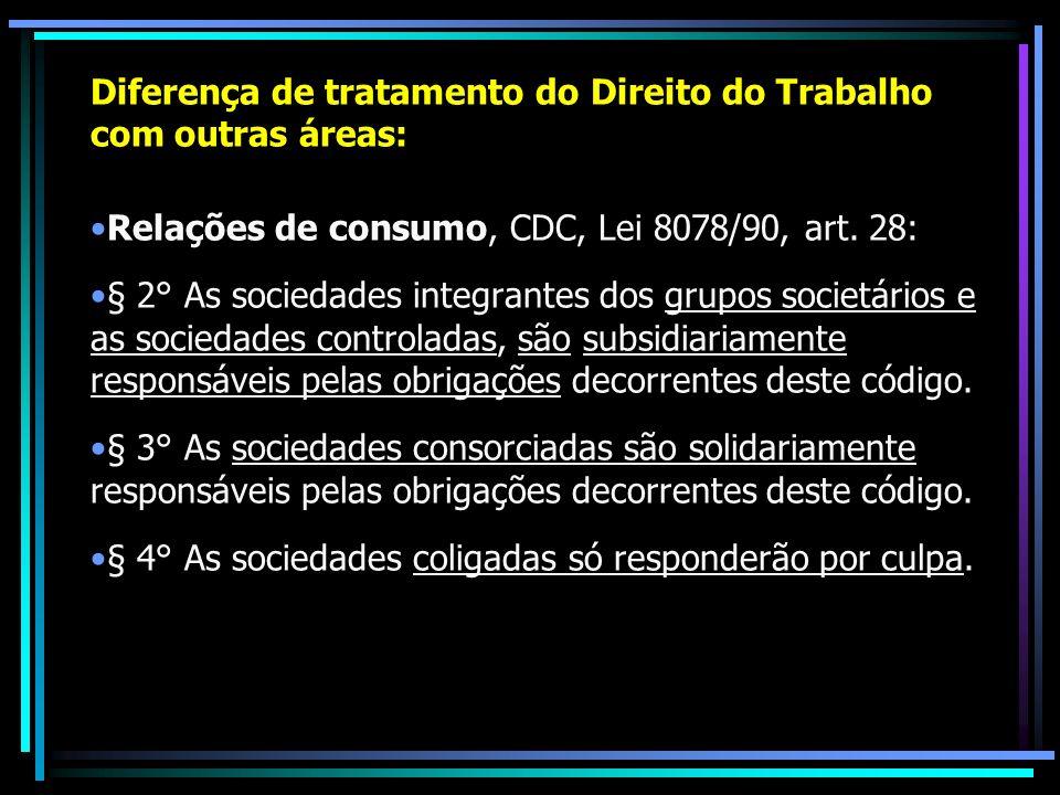 Diferença de tratamento do Direito do Trabalho com outras áreas: Relações de consumo, CDC, Lei 8078/90, art. 28: § 2° As sociedades integrantes dos gr