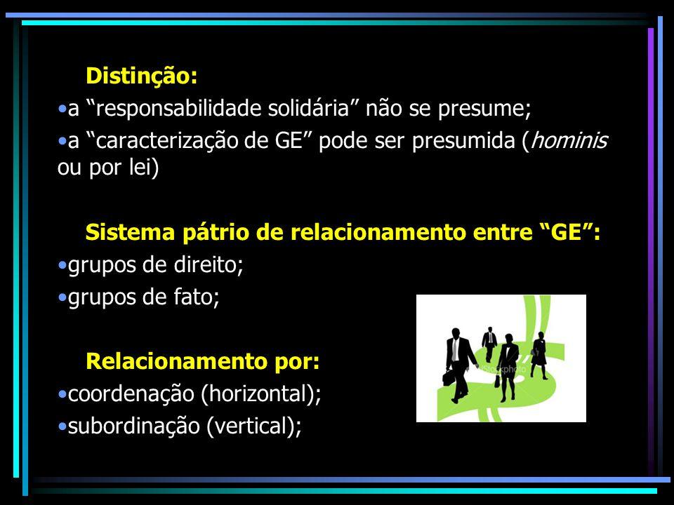 Distinção: a responsabilidade solidária não se presume; a caracterização de GE pode ser presumida (hominis ou por lei) Sistema pátrio de relacionament