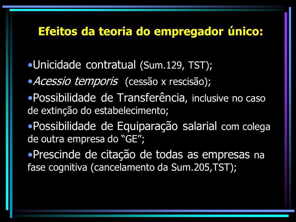 Efeitos da teoria do empregador único: Unicidade contratual (Sum.129, TST); Acessio temporis (cessão x rescisão); Possibilidade de Transferência, incl