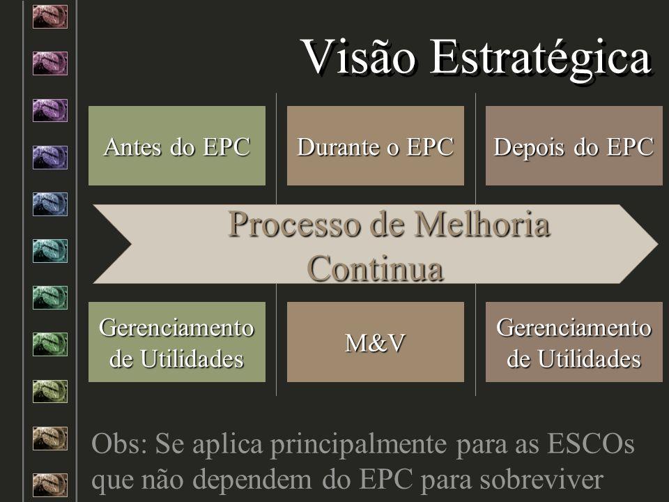 Visão Estratégica Durante o EPC Antes do EPC Depois do EPC M&V Gerenciamento de Utilidades Obs: Se aplica principalmente para as ESCOs que não depende