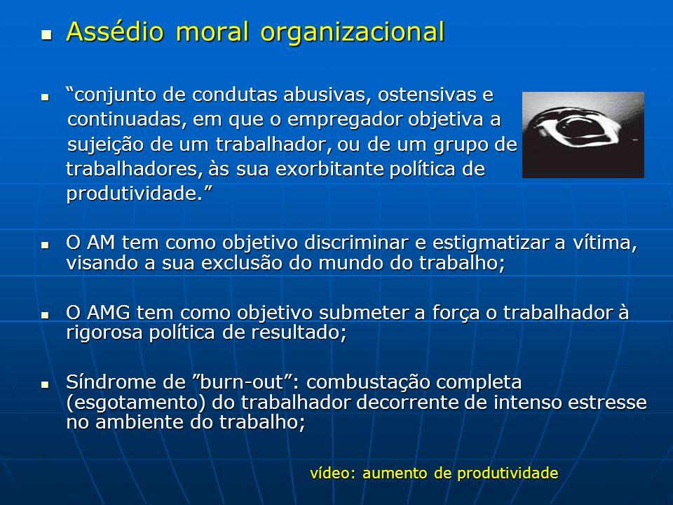 Assédio moral organizacional Assédio moral organizacional conjunto de condutas abusivas, ostensivas e conjunto de condutas abusivas, ostensivas e cont