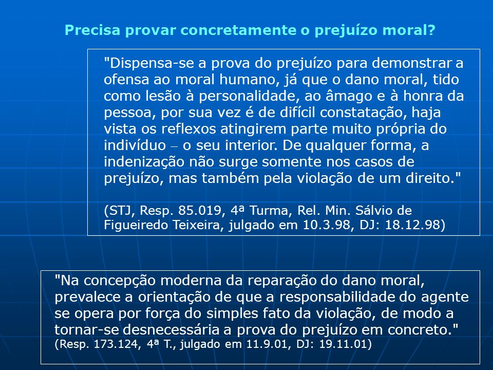 Precisa provar concretamente o prejuízo moral?
