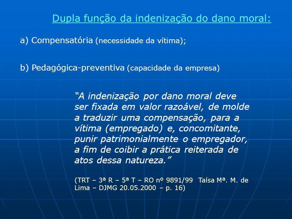 Dupla função da indenização do dano moral: a) Compensatória (necessidade da vítima); b) Pedagógica-preventiva (capacidade da empresa) A indenização po