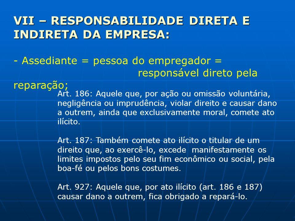 VII – RESPONSABILIDADE DIRETA E INDIRETA DA EMPRESA: - Assediante = pessoa do empregador = responsável direto pela reparação; Art. 186: Aquele que, po