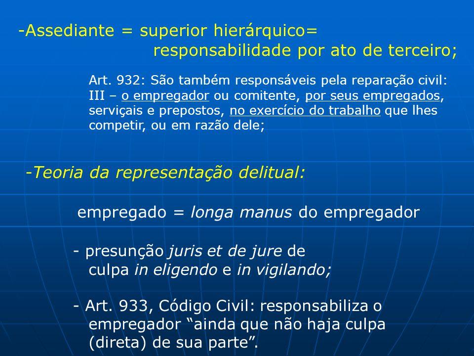 -Assediante = superior hierárquico= responsabilidade por ato de terceiro; Art. 932: São também responsáveis pela reparação civil: III – o empregador o