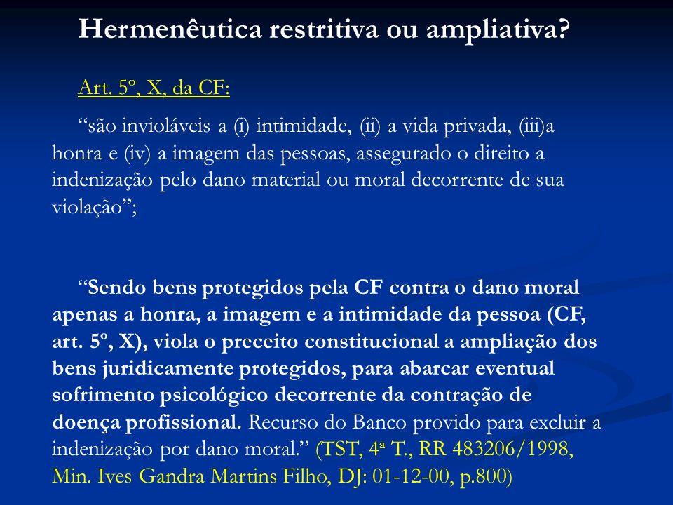 Hermenêutica restritiva ou ampliativa? Art. 5º, X, da CF: são invioláveis a (i) intimidade, (ii) a vida privada, (iii)a honra e (iv) a imagem das pess