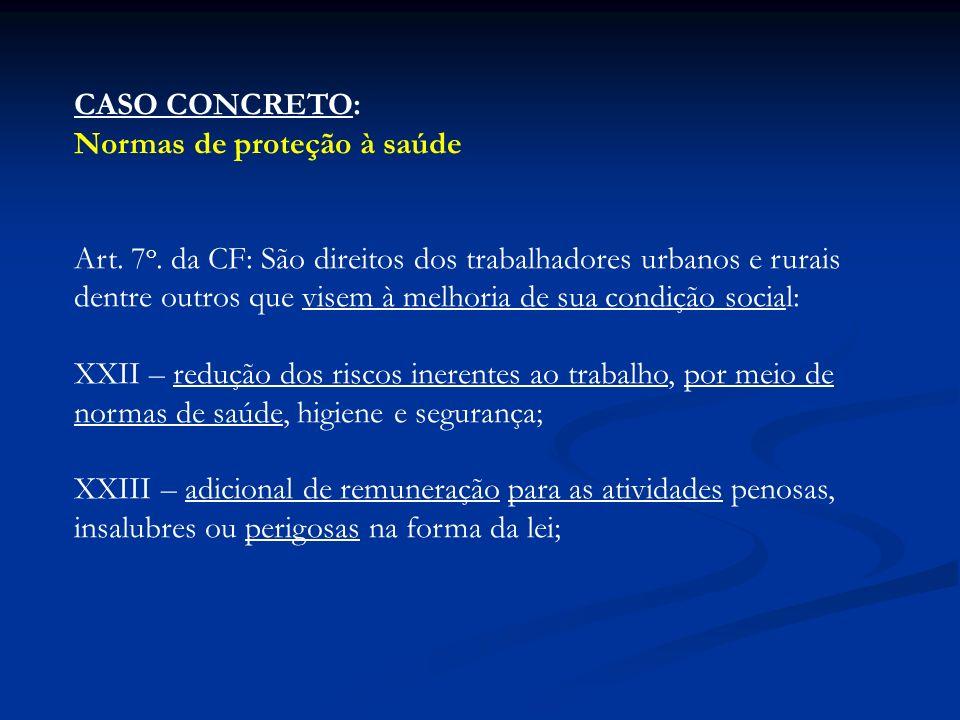 CASO CONCRETO: Normas de proteção à saúde Art. 7 o. da CF: São direitos dos trabalhadores urbanos e rurais dentre outros que visem à melhoria de sua c