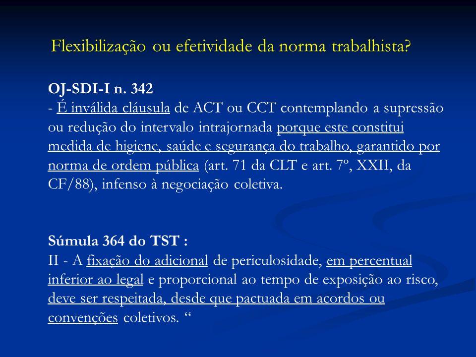 Flexibilização ou efetividade da norma trabalhista? OJ-SDI-I n. 342 - É inválida cláusula de ACT ou CCT contemplando a supressão ou redução do interva