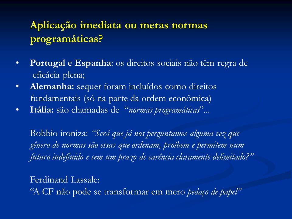 Aplicação imediata ou meras normas programáticas? Portugal e Espanha: os direitos sociais não têm regra de eficácia plena; Alemanha: sequer foram incl