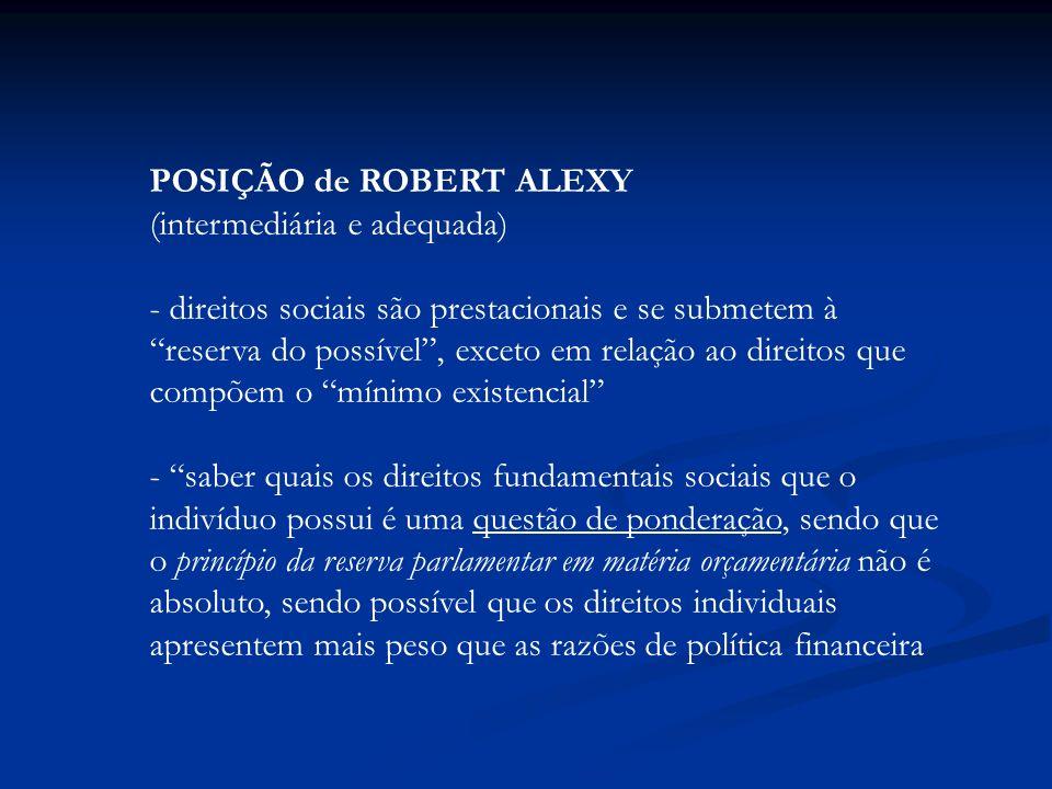 POSIÇÃO de ROBERT ALEXY (intermediária e adequada) - direitos sociais são prestacionais e se submetem à reserva do possível, exceto em relação ao dire