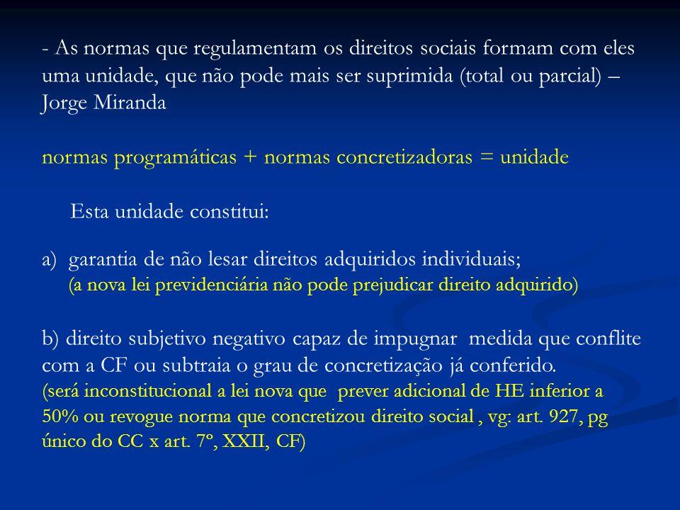 - As normas que regulamentam os direitos sociais formam com eles uma unidade, que não pode mais ser suprimida (total ou parcial) – Jorge Miranda norma