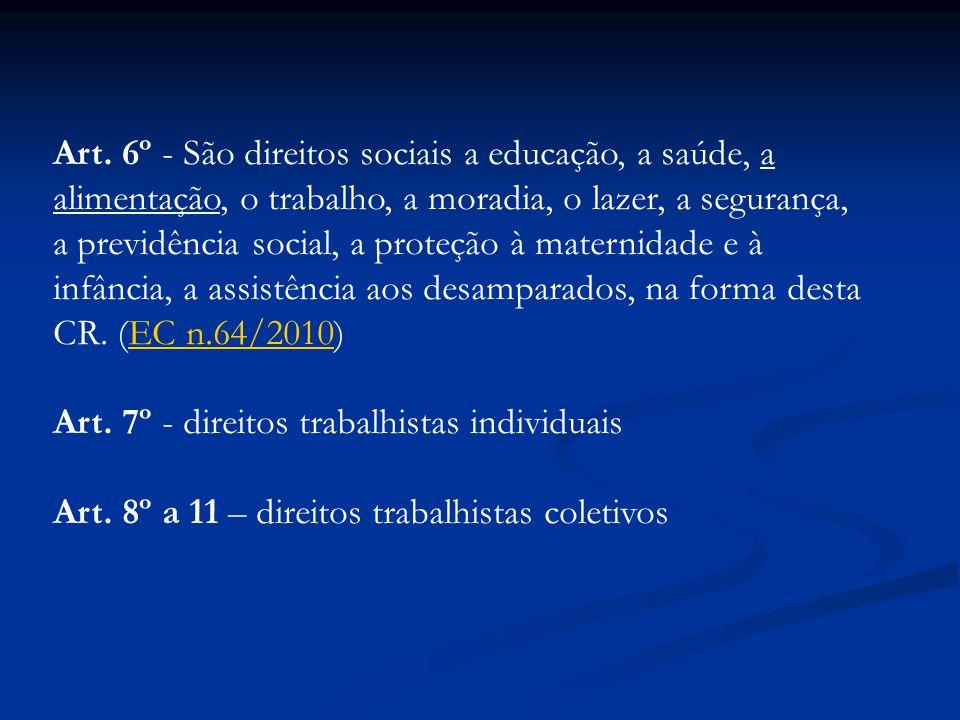 Art. 6º - São direitos sociais a educação, a saúde, a alimentação, o trabalho, a moradia, o lazer, a segurança, a previdência social, a proteção à mat