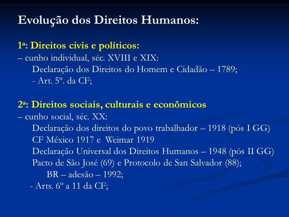 Evolução dos Direitos Humanos: 1 a : Direitos civis e políticos: – cunho individual, séc. XVIII e XIX: Declaração dos Direitos do Homem e Cidadão – 17
