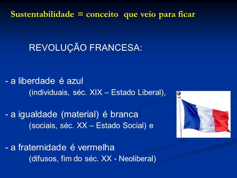 Sustentabilidade = conceito que veio para ficar REVOLUÇÃO FRANCESA: -a liberdade é azul (individuais, séc. XIX – Estado Liberal), -a igualdade (materi