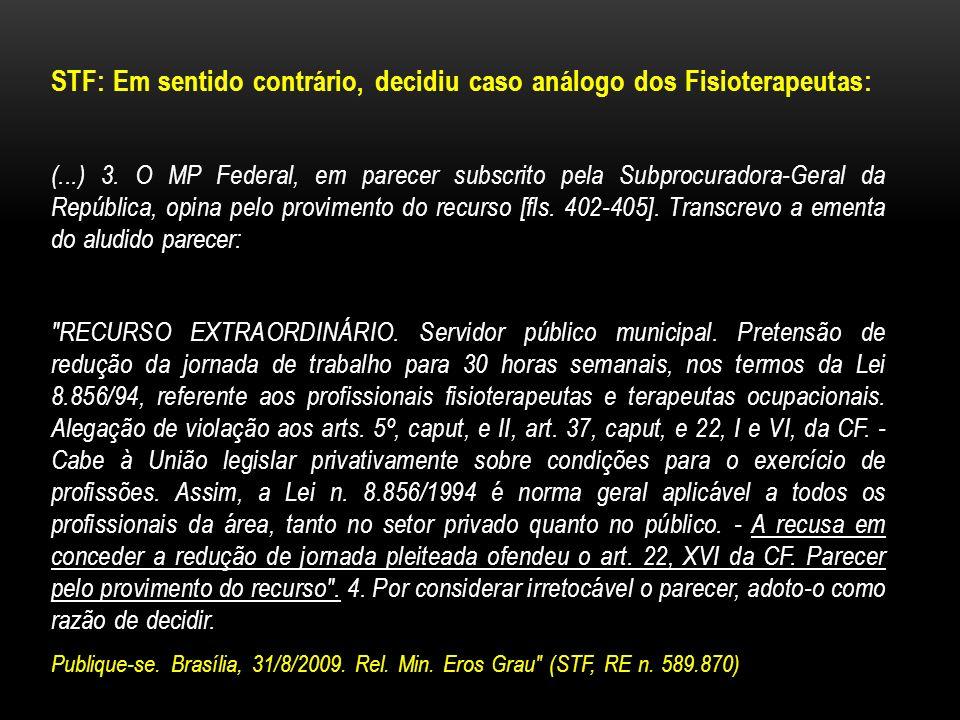 STF: Em sentido contrário, decidiu caso análogo dos Fisioterapeutas: (...) 3. O MP Federal, em parecer subscrito pela Subprocuradora-Geral da Repúblic